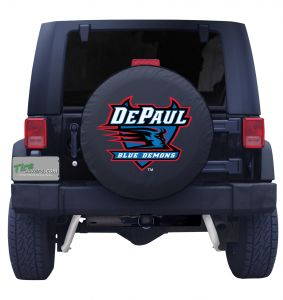 DePaul University Spare Tire Cover Black Vinyl Front