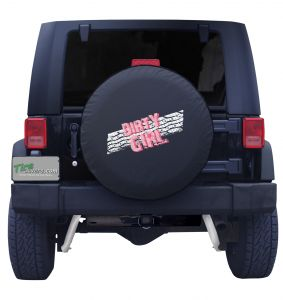 Dirty Girl Tread Spare Tire Cover on Black Vinyl Front