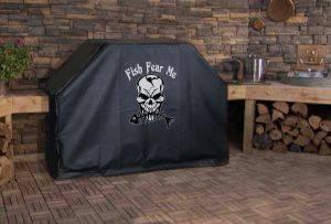 Fish Fear Me Skeleton Logo Grill Cover