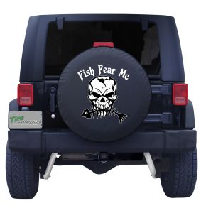 Fish Fear Me Skeleton Fish Tire Cover
