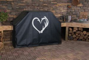Fish Hook Antler Heart Logo Grill Cover