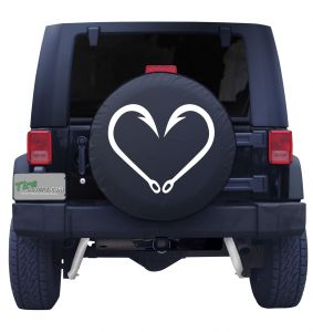 Fishing Hook Heart Tire Cover