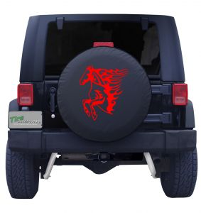 Flaming Red Mustang Tire Cover
