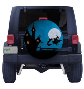 Haunted House and Witch Tire Cover