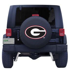 Georgia University Spare Tire Cover Black Vinyl Front