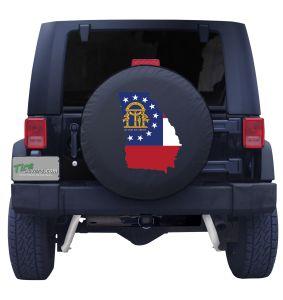 Georgia State Outline Flag Tire Cover