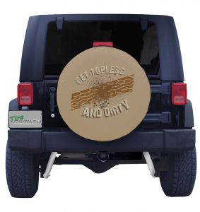 Get Topless and dirty with Tread Spare Tire Cover on Tan Vinyl Front