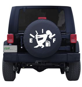 Girl Running on Fumes Gas Gauge Custom Tire Cover