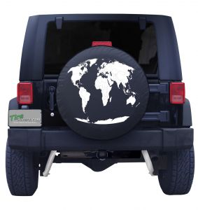 Round World Map Custom Tire Cover Front