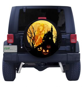 Halloween Haunted House Spare Tire Cover Front