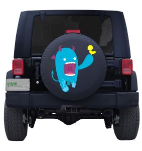 Blue Monster Eating Bird Tire Cover