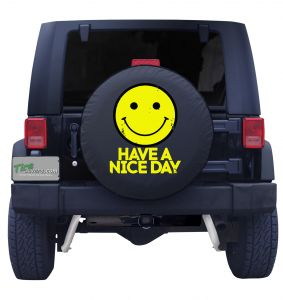 Vintage Smiley Face Have a Nice Day Tire Cover