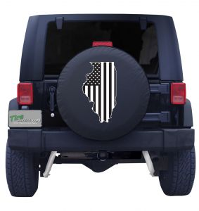 Illinois State Outline American Flag BW Tire Cover