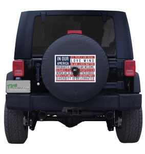 In Our America Flag Spare Tire Cover Jeep Wrangler with Backup Camera