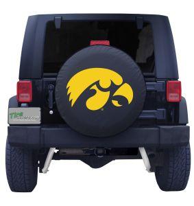 University of Iowa Spare Tire Cover Black Vinyl Front