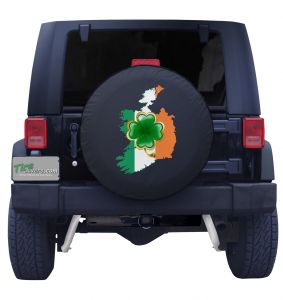 Irish Country Flag and Clover Tire Cover Front
