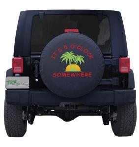 It's 5 O' Clock Somewhere Palm Trees Color Custom Tire Cover