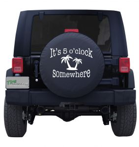 It's 5 O' Clock Somewhere Palm Trees Tire Cover