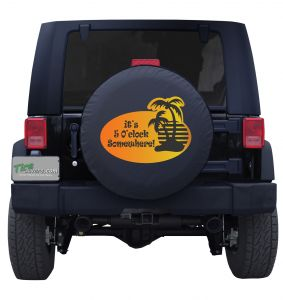 It's Five O' Clock Somewhere Sunset Sticker Tire Cover