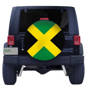 Jamaican Flag Closeup Tire Cover