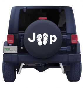 Jeep Flip Flops Tire Cover shown in White