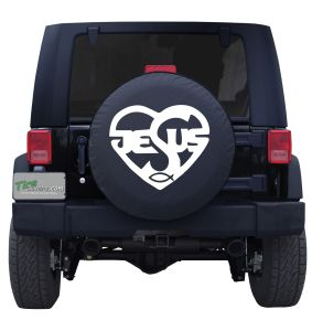 Contemporary Jesus Heart Fish Tire Cover