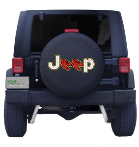 Jeep Dinosaur Skull Red Tire Cover