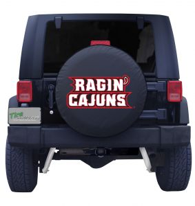 University of Louisiana at Lafayette Spare Tire Cover Black Vinyl Front