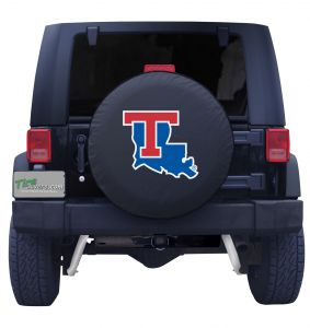 Louisiana Tech University Spare Tire Cover Black Vinyl Front