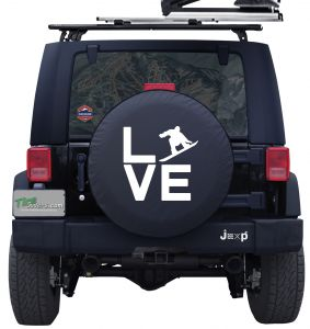 Love Snowboarding Custom Tire Cover Jeep Wrangler