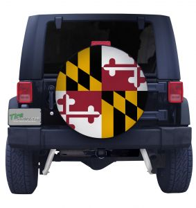 Maryland State Flag Closeup Tire Cover Front