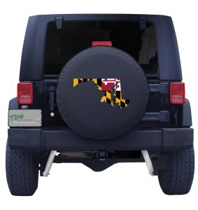 Maryland State Outline Flag Tire Cover