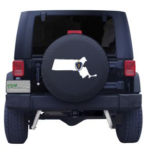 Massachusetts State Outline Flag Tire Cover
