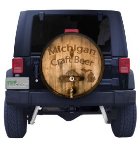 Michigan Craft Beer Barrel Spare Tire Cover Black Vinyl Front