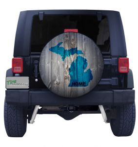 Michigan Blue State on Wood Tire Cover