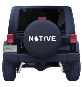 Michigan Native Tire Cover on Black Vinyl Front