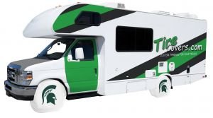 Michigan State University RV Tire Shade Cover White Vinyl Front