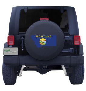 Montana State Outline Flag Tire Cover