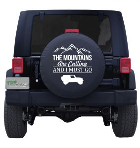 The Mountains Are Calling Tire Cover with Jeep Outline