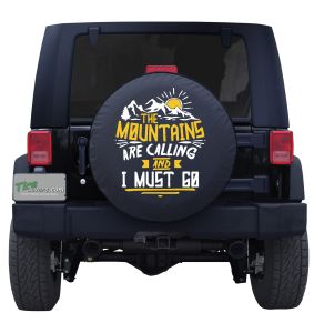 The Mountains Are Calling Tire Cover with Sunshine