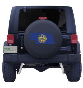 Nebraska State Outline Flag Tire Cover
