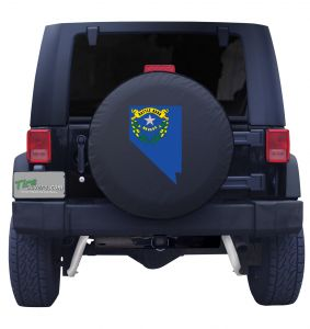Nevada State Outline Flag Tire Cover