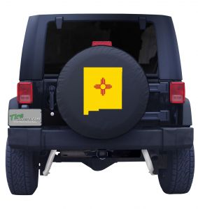 New Mexico State Outline Flag Tire Cover