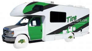 North Dakota State University RV Tire Shade Cover White Vinyl Front
