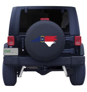 North Carolina State Outline Flag Tire Cover