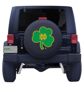 University of Notre Dame Shamrock Spare Tire Cover Navy Vinyl Front