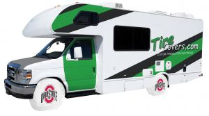 Ohio State University RV Tire Shade Cover White Vinyl Front
