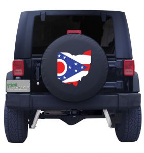 Ohio State Outline Flag Tire Cover