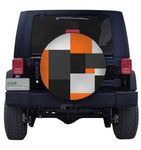 Large Orange Block Camouflage Tire Cover Jeep Wrangler