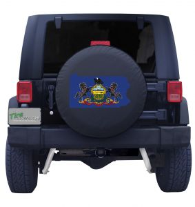 Pennsylvania State Outline Flag Tire Cover